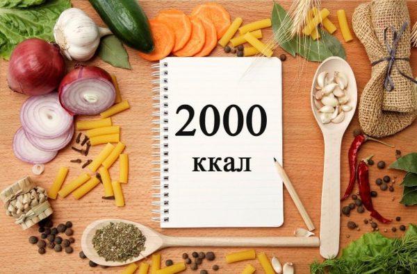 Меню на 1800 и 2000 ккал в день