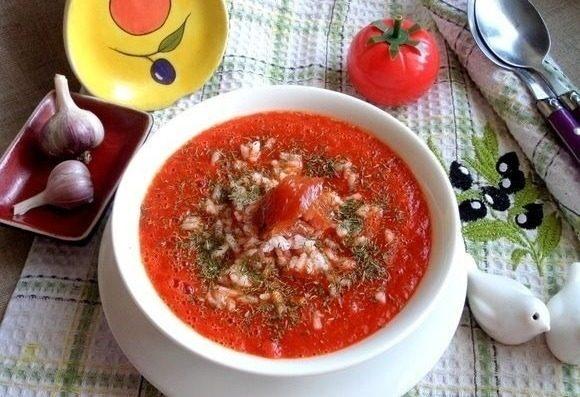 Суп-пюре из томатов с рисом: крахмальный день