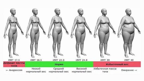 Степени ожирения по индексу массы тела