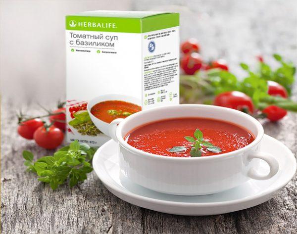 Томатный суп Гербалайф с зеленью и грибами