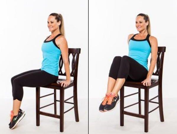 Упражнение со стулом на нижний пресс.