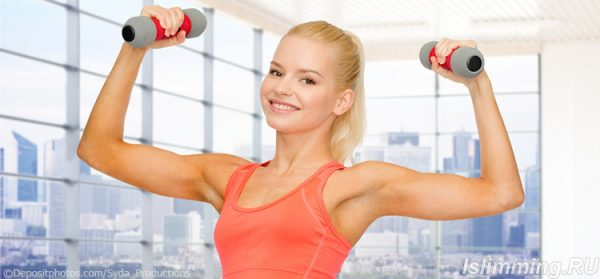 Использование гантель для похудения: правила тренировок